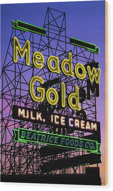 Tulsa Oklahoma Meadow Gold Neon - Route 66 Photo Art Wood Print