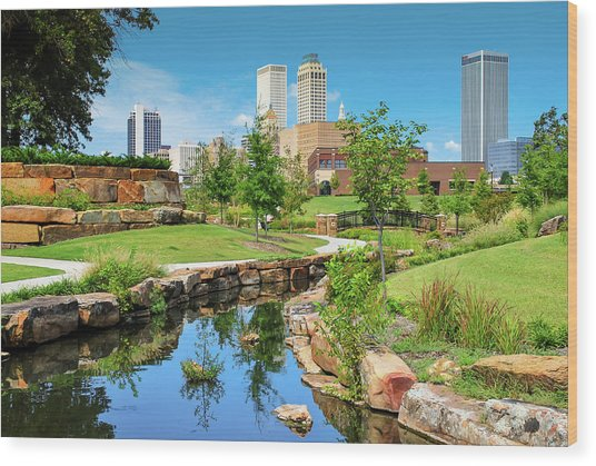 Tulsa Oklahomka Skyline View From Central Centennial Park Wood Print