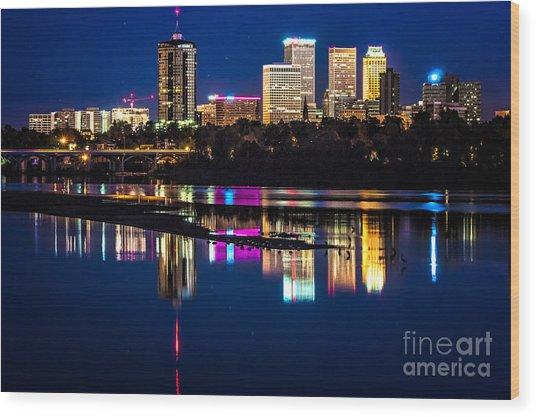 Tulsa Skyline At Twilight Wood Print