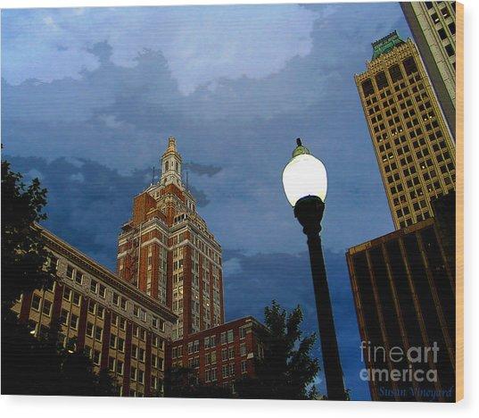 Tulsa Streetscape Wood Print