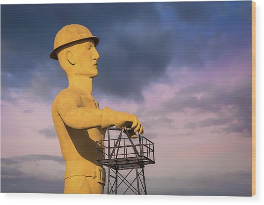 Tulsa's Golden Driller Up Close - Tulsa Oklahoma Art Wood Print