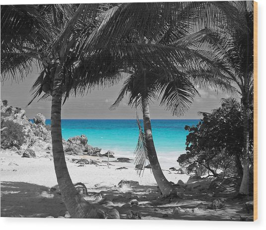Tulum Mexico Beach Color Splash Black And White Wood Print
