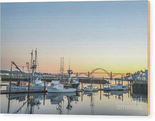 Tuna Boats Resting For The Night Wood Print