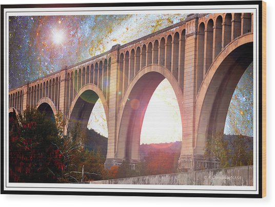 Tunkhannock Viaduct, Nicholson Bridge, Starry Night Fantasy Wood Print