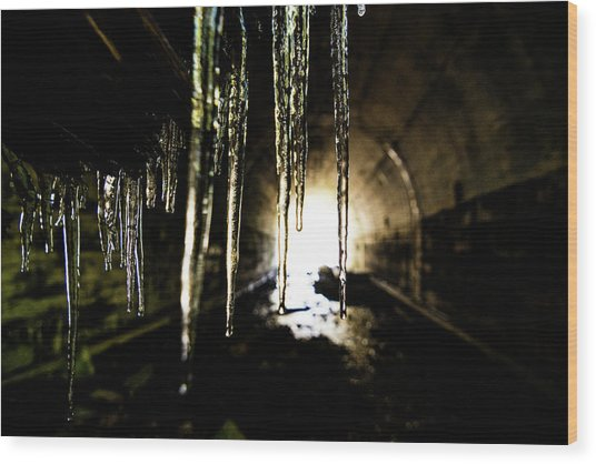 Tunnel Icicles Wood Print