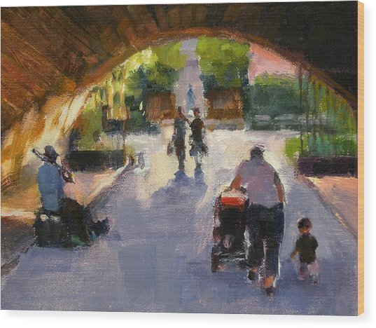 Tunnel In Central Park Wood Print by Merle Keller