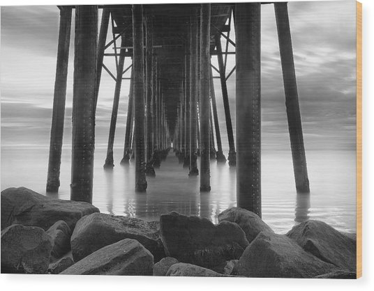Tunnel Of Light - Black And White Wood Print