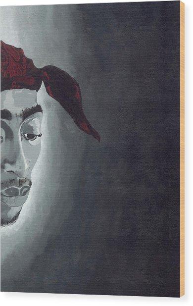 Tupac Wood Print by Rishanna Finney