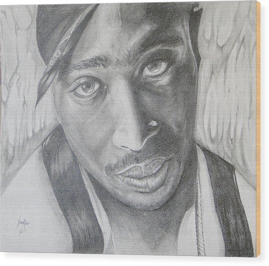 Tupac Shakur II Wood Print by Stephen Sookoo