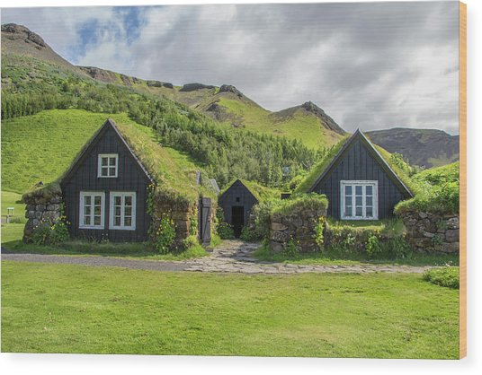 Turf Roof Houses And Shed, Skogar, Iceland Wood Print