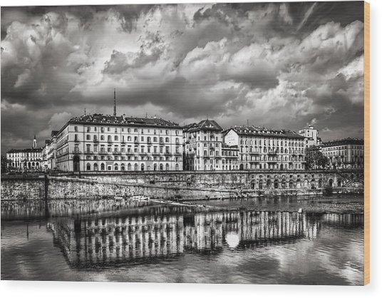 Turin Shrouded In Cloud Wood Print