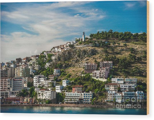 Turkey Coastal Village Wood Print by Ken Andersen
