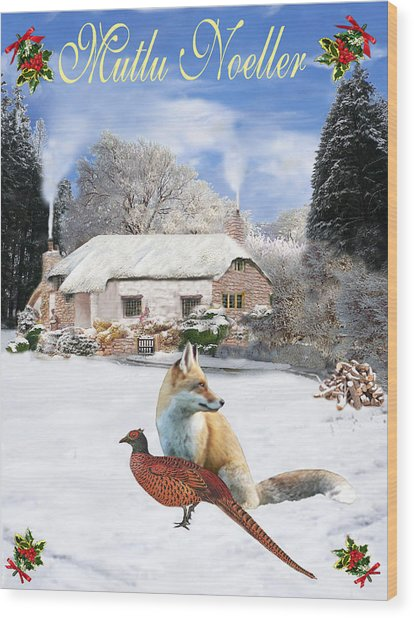 Turkish  Winter Garden Fox And Pheasant Wood Print