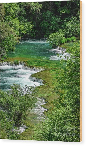 Turqouise Waterfalls Of Skradinski Buk At Krka National Park In Croatia Wood Print