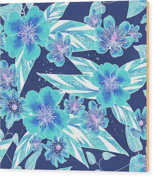 Turquoise Batik Tile 2 - Bidens Wood Print
