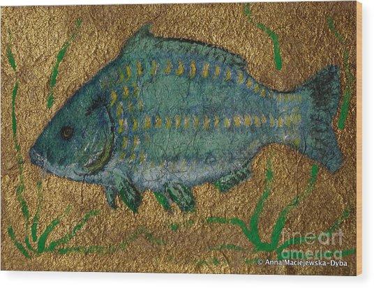 Turquoise Carp Wood Print by Anna Folkartanna Maciejewska-Dyba