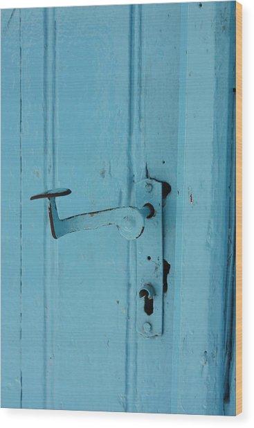 Turquoise Door 02 Wood Print by Yvonne Ayoub