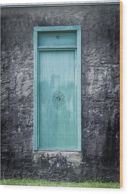 Turquoise Door Wood Print