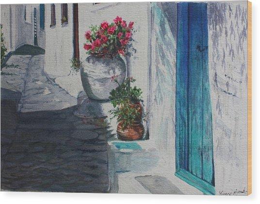Turquoise Door Wood Print by Yvonne Ayoub