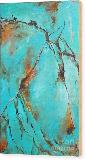 Turquoise Impression Wood Print