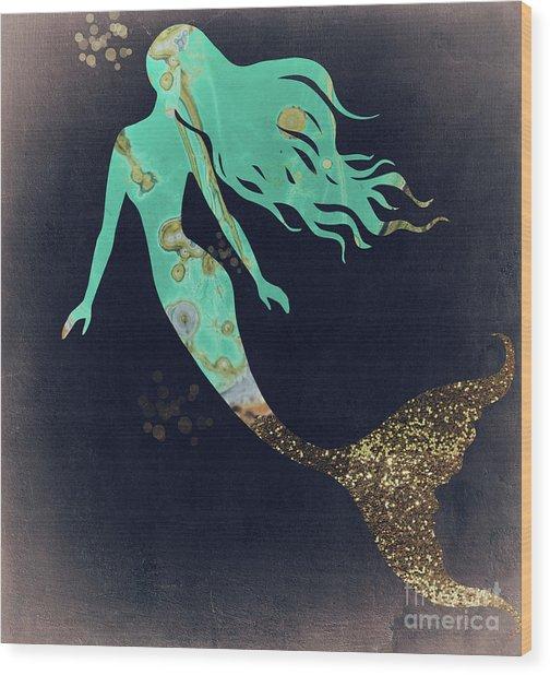 Turquoise Mermaid Wood Print