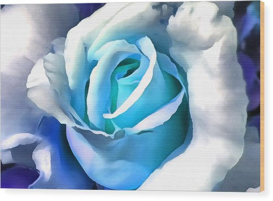 Turquoise Rose Wood Print