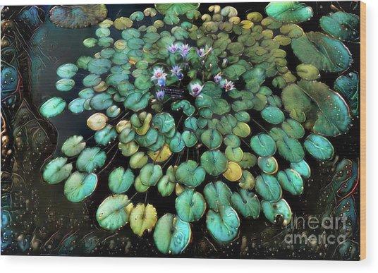 Turquoise Waterlilies 2 Wood Print
