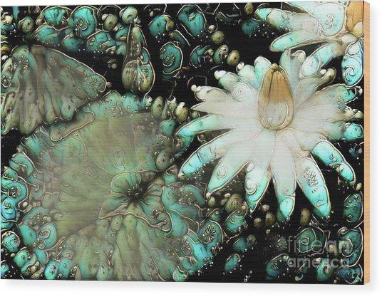 Turquoise Waterlilies 3 Wood Print