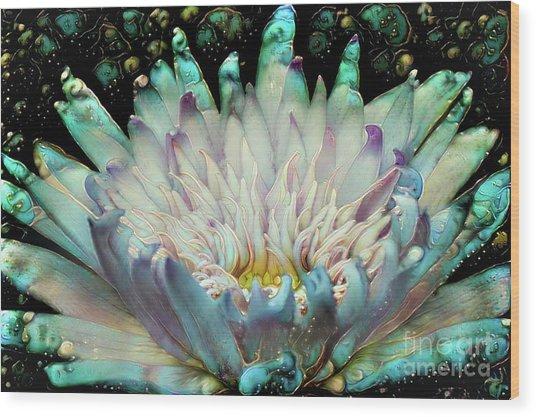 Turquoise Waterlilies 5 Wood Print