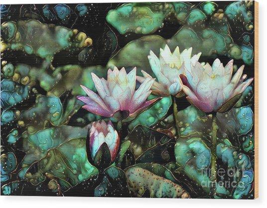 Turquoise Waterlilies 6 Wood Print