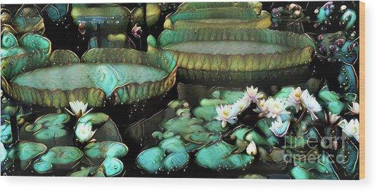 Turquoise Waterlilies 7 Wood Print