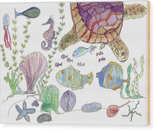 Turtle And Sea Life Wood Print