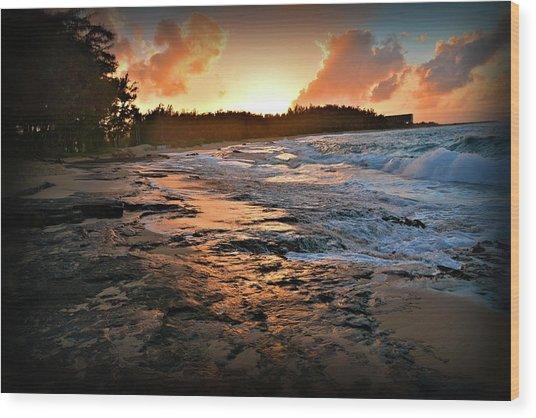 Turtle Bay Sunset 1 Wood Print