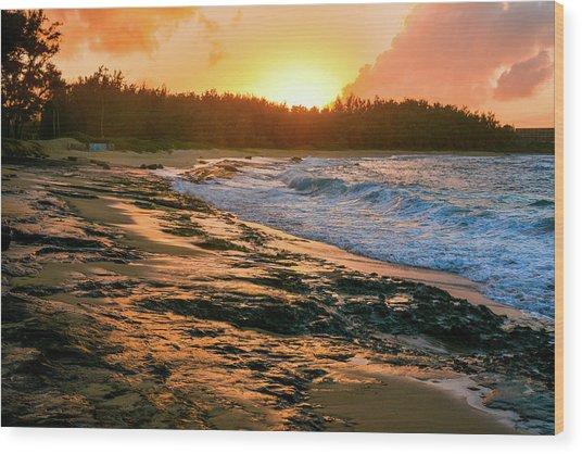 Turtle Bay Sunset 2 Wood Print