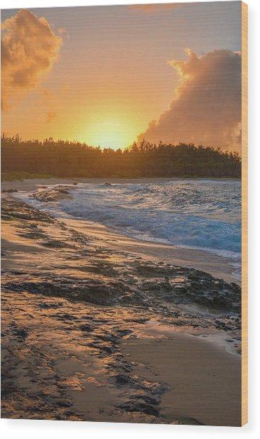 Turtle Bay Sunset 3 Wood Print
