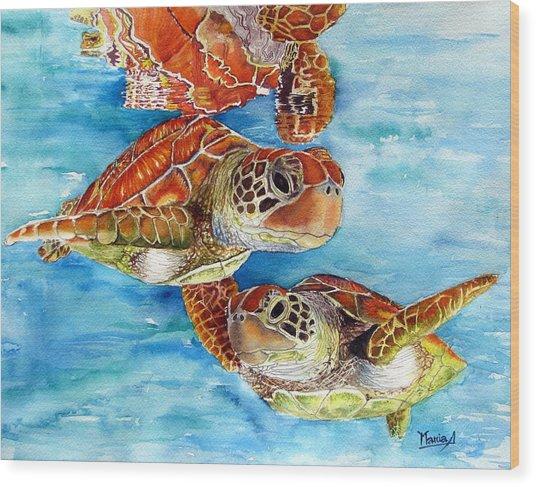 Turtle Crossing Wood Print