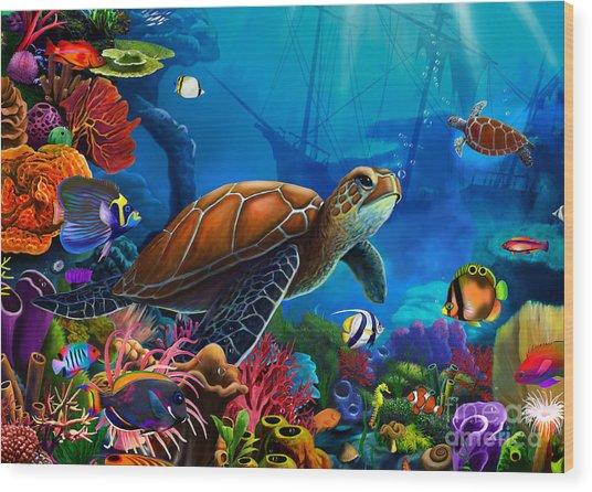 Turtle Domain Wood Print