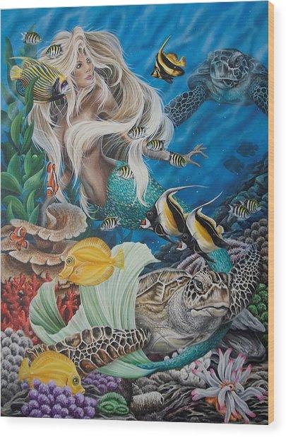 Turtle Mermaid Wood Print