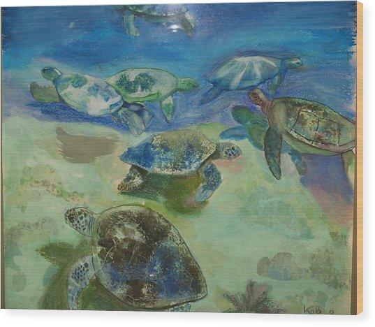 Turtles Wood Print by Aline Kala