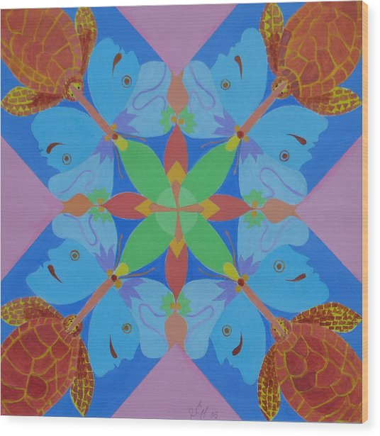 Turtles And Butterfly People Wood Print by Seema  Gill