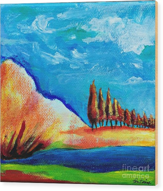 Tuscan Cypress Wood Print