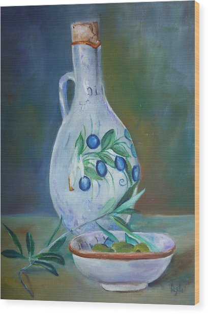Tuscan Elements - Olive Oil With Olives Wood Print by Virgilla Lammons