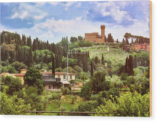 Tuscan Fields And Old Castle In Florence Wood Print