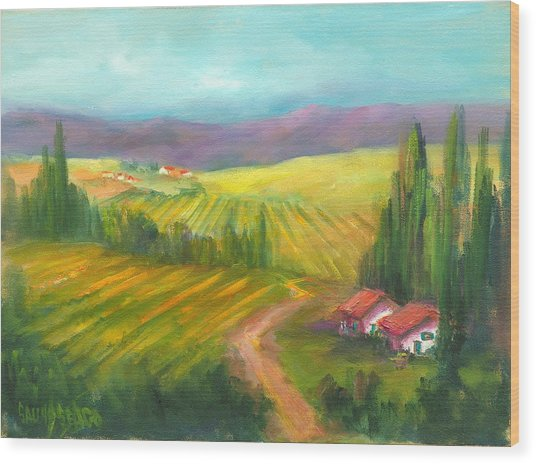 Tuscan Fields Wood Print by Sally Seago