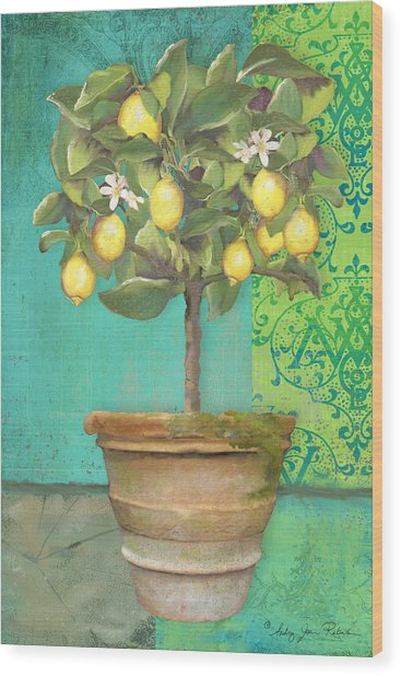 Tuscan Lemon Topiary - Damask Pattern 1 Wood Print