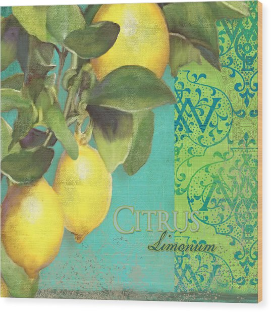 Tuscan Lemon Tree - Citrus Limonum Damask Wood Print
