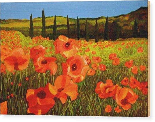 Tuscan Poppies Wood Print