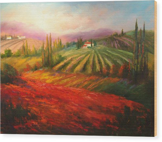 Tuscan Poppies Wood Print by Sally Seago