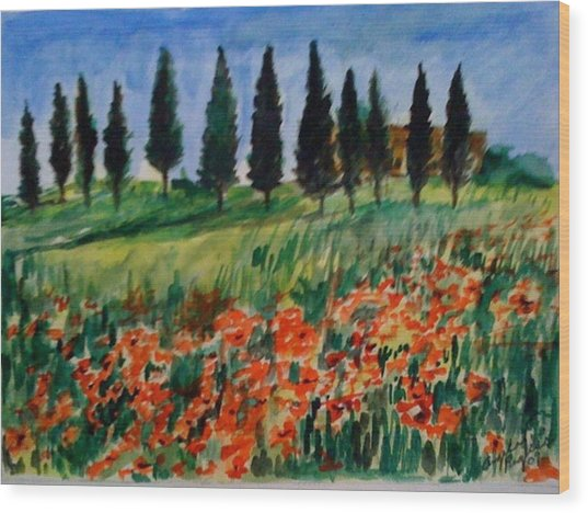 Tuscan Poppies With Poplar Trees Wood Print by Angela Puglisi