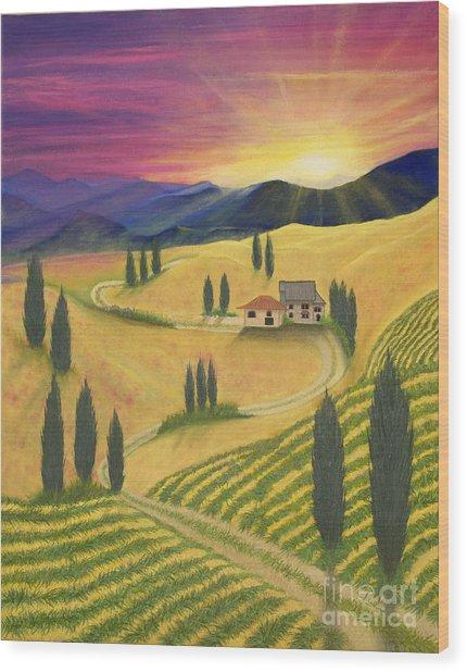 Tuscan Sunset B Wood Print